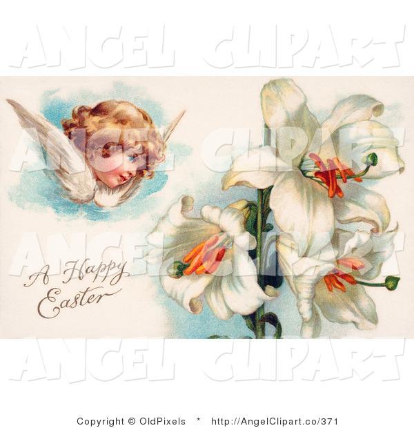Clip Art of a Sweet Victorian Cherub Angel Flying near White.