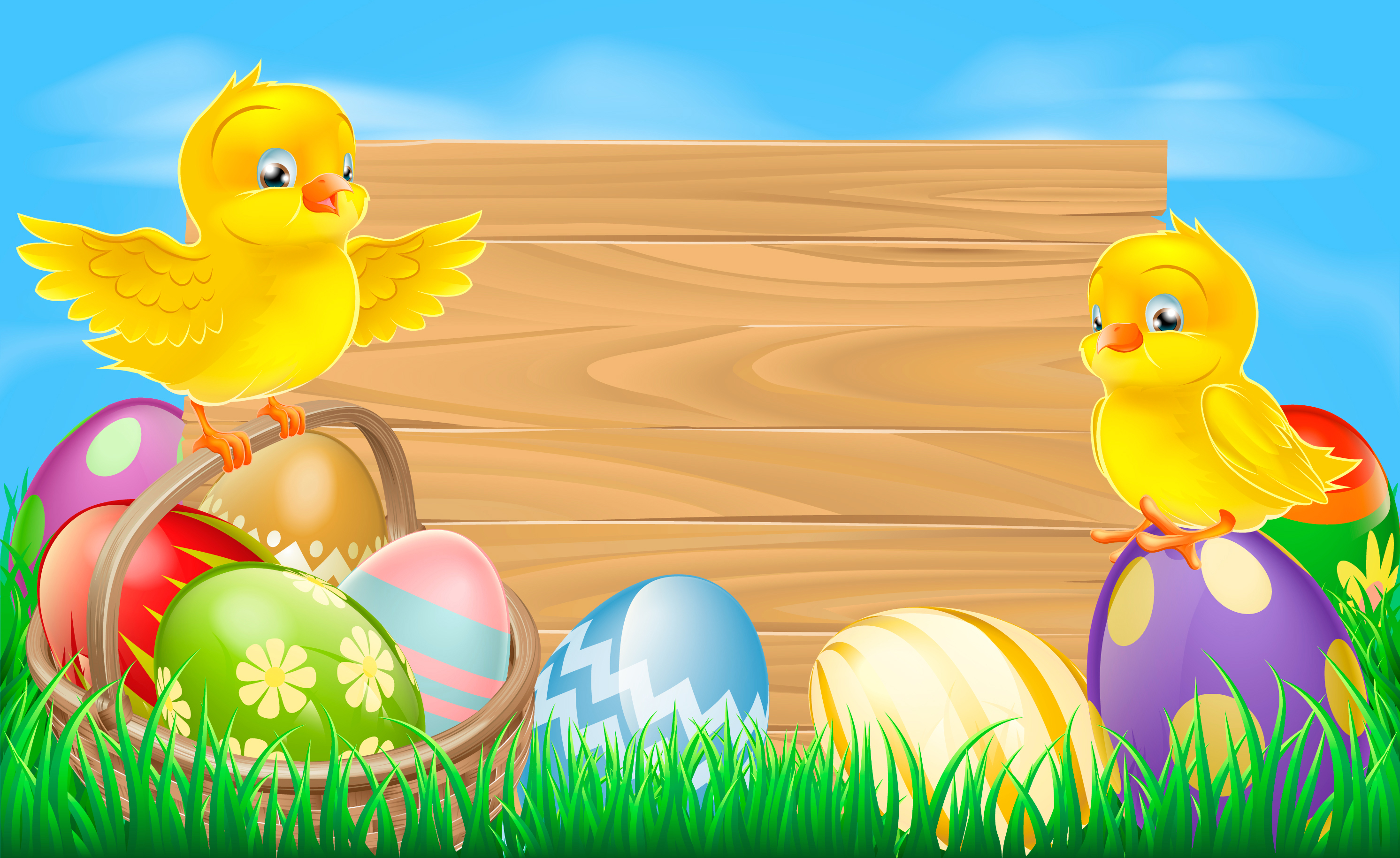 Easter Background with Eggs and Chickens.