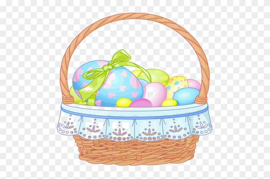 Easter Basket With Eggs Transparent Clipart.