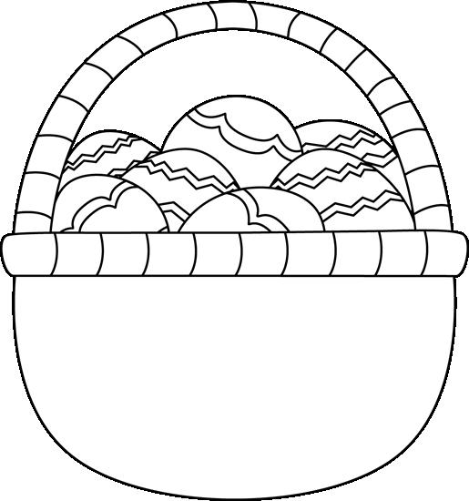 Blank Black and White Basket of Easter Eggs Clip Art.