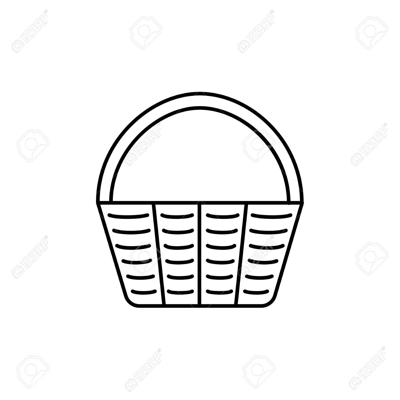 Black & white vector illustration of Easter basket. Line icon...