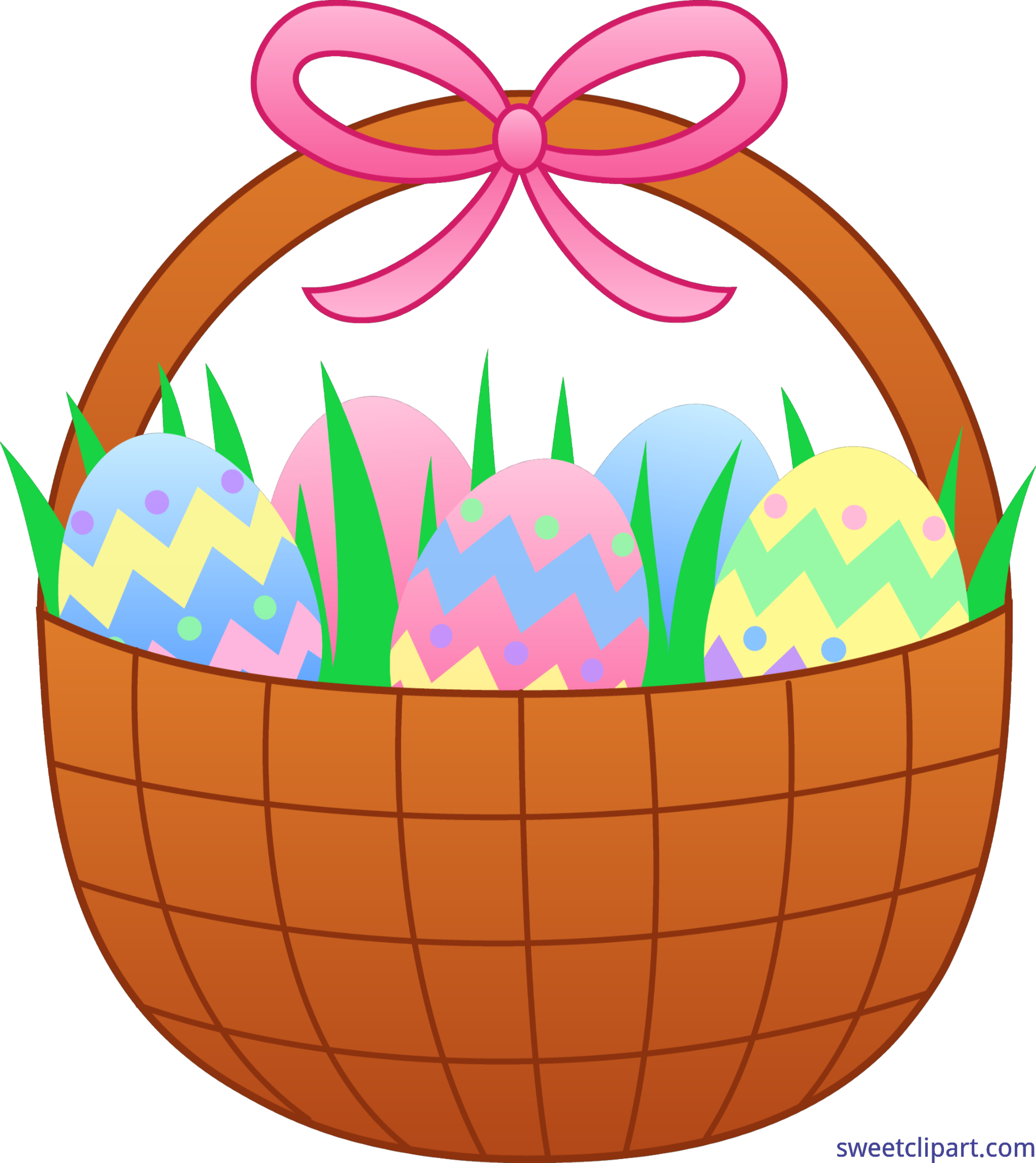 Cute Easter Basket With Eggs Clip Art.