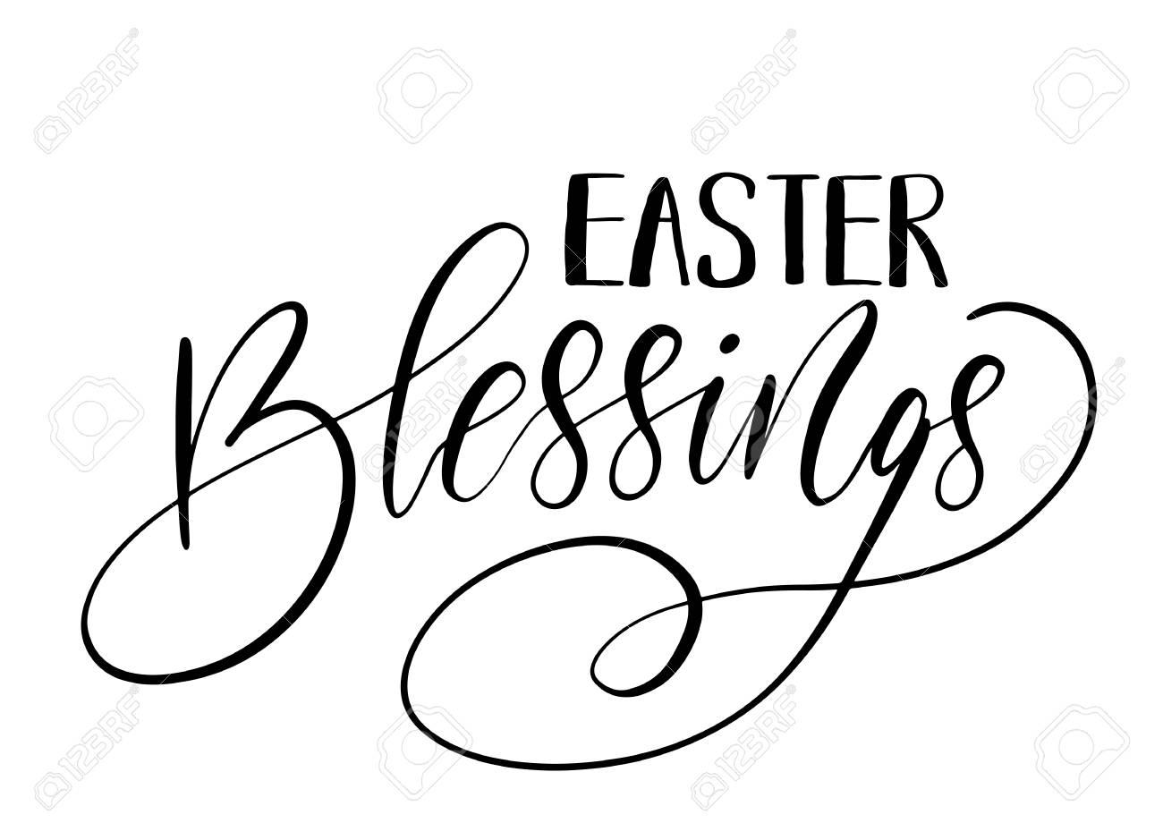 Easter holiday celebration. Easter Blessings handwriting lettering...