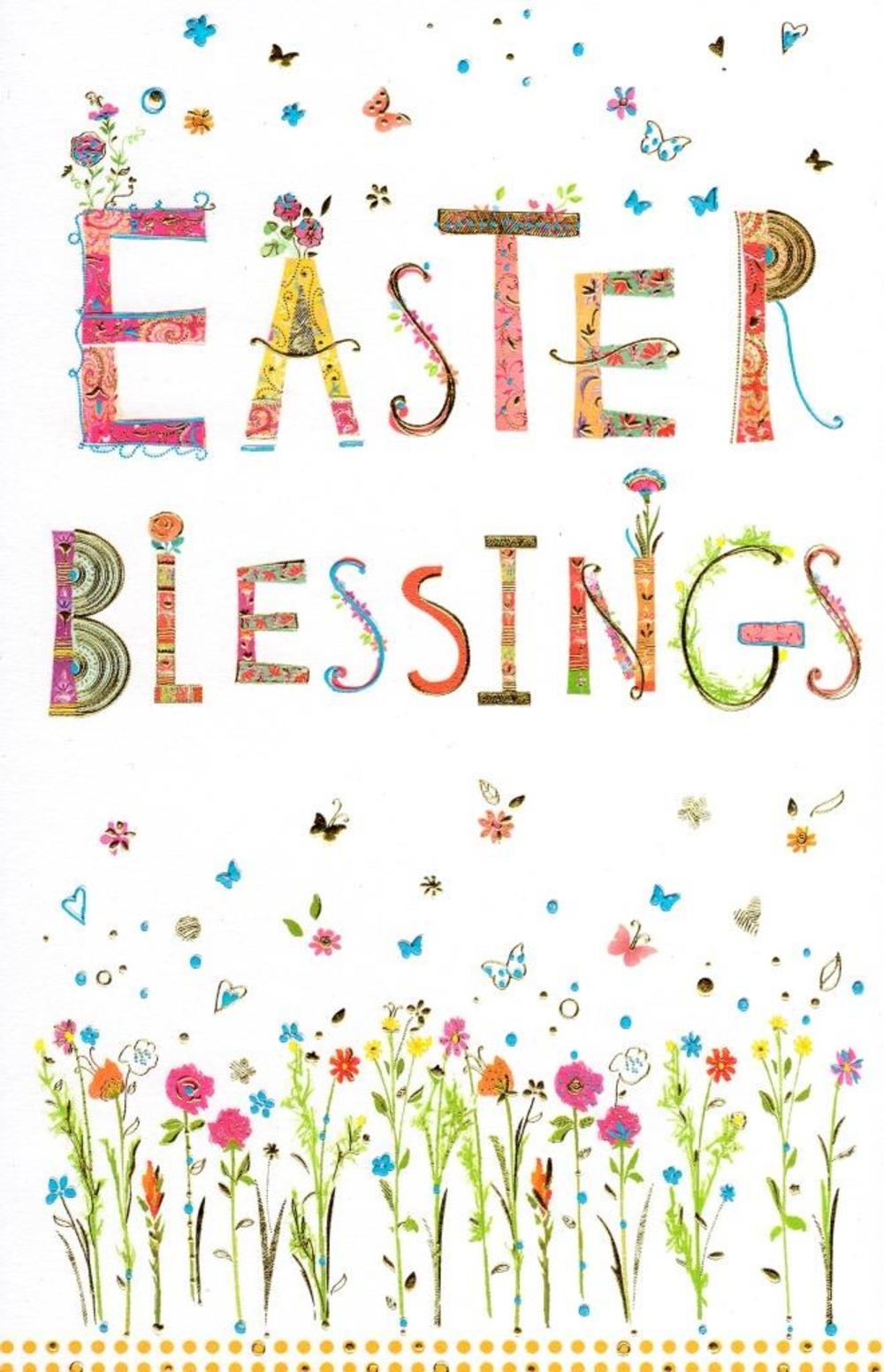 Easter Blessings Pretty Religious Greeting Card.
