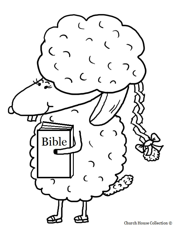Easter Sheep With Braid And Bible Coloring Page.