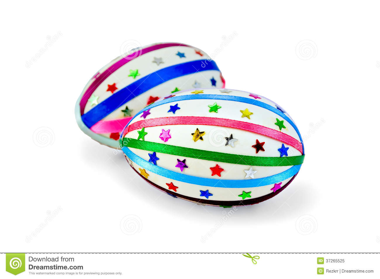 Easter Egg With Colored Ribbons And Sequins Royalty Free Stock.