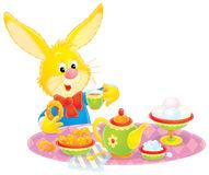 Easter Bunny at breakfast stock illustration. Illustration of kettle.