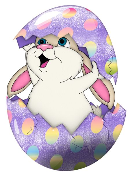 Cute Purple Easter Bunny in Egg Transparent PNG Clipart.