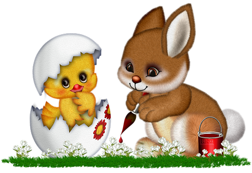 Easter Bunny and Chicken Clipart.