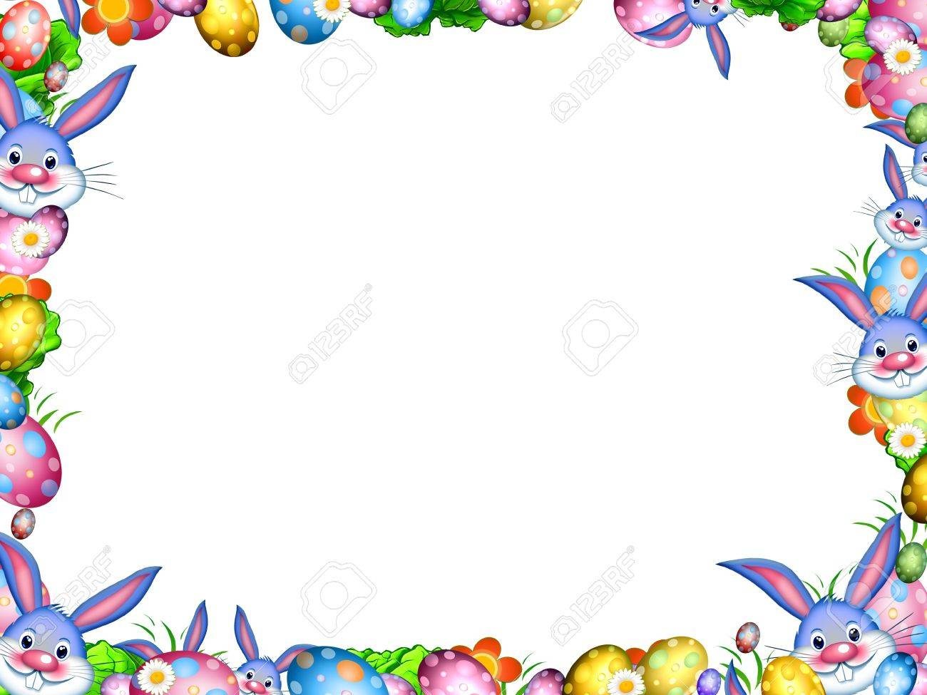 easter bunnies with colorful eggs and flowers border frame isolated...