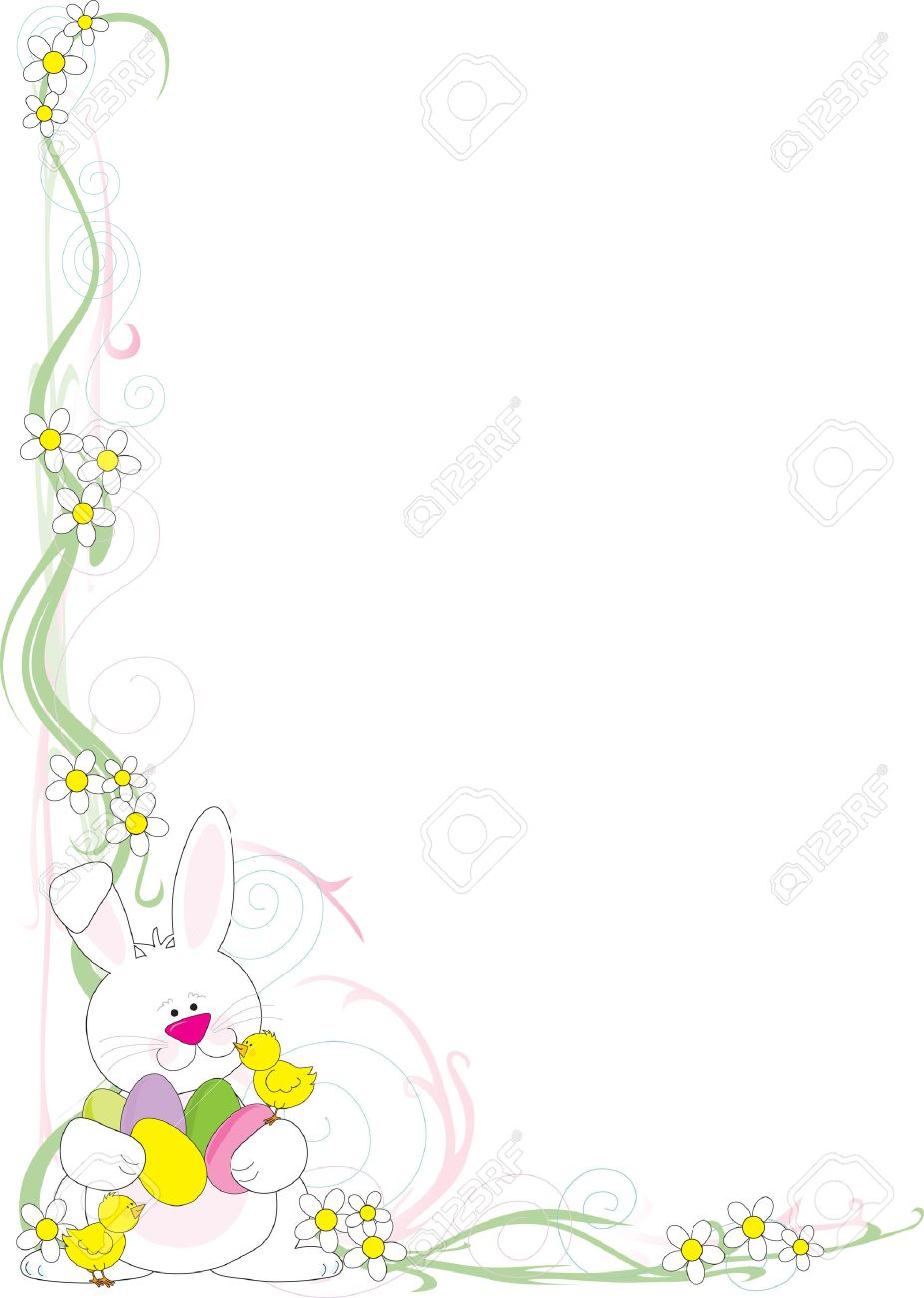 A frame or border featuring an Easter Bunny wit h chicks and...