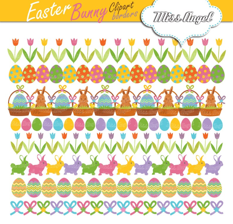 Easter bunny clipart borders. Digital Easter garlands clip art. Small  Commercial Use. Eggs, basket, bunnies, tulips. Easter bunting banners.