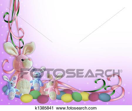 Easter Bunny Border Clip Art.