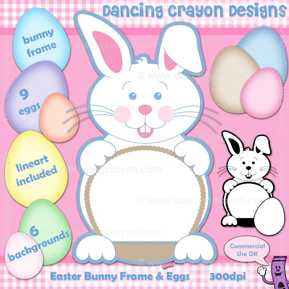 Easter Bunny Clip Art: Frame, Eggs, Background Graphics.