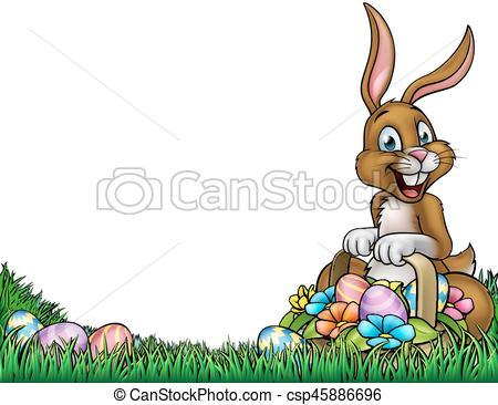 Easter Egg Hunt Bunny Background.