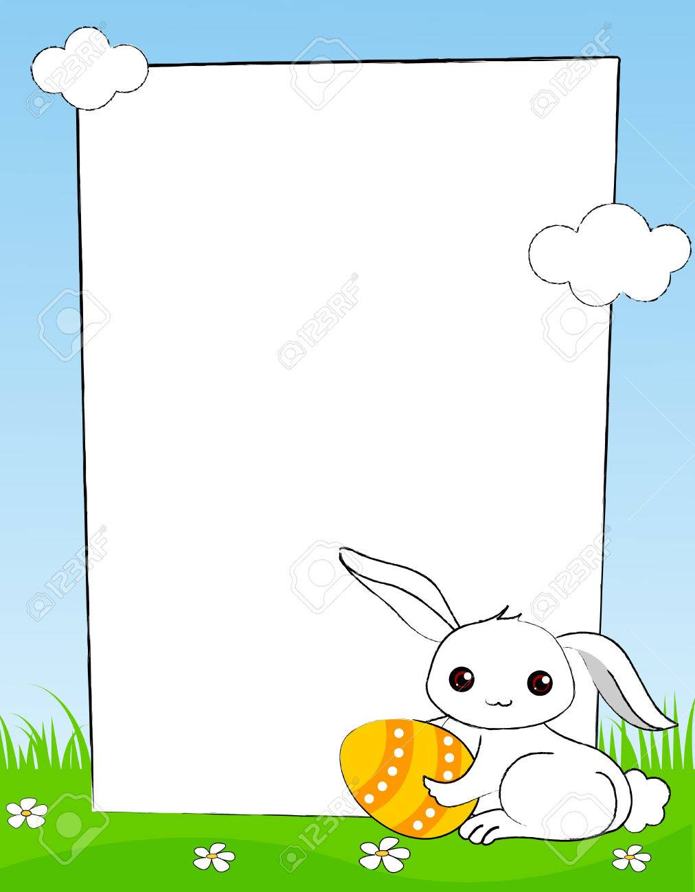 Cute white easter bunny with colorful easter egg frame / border.