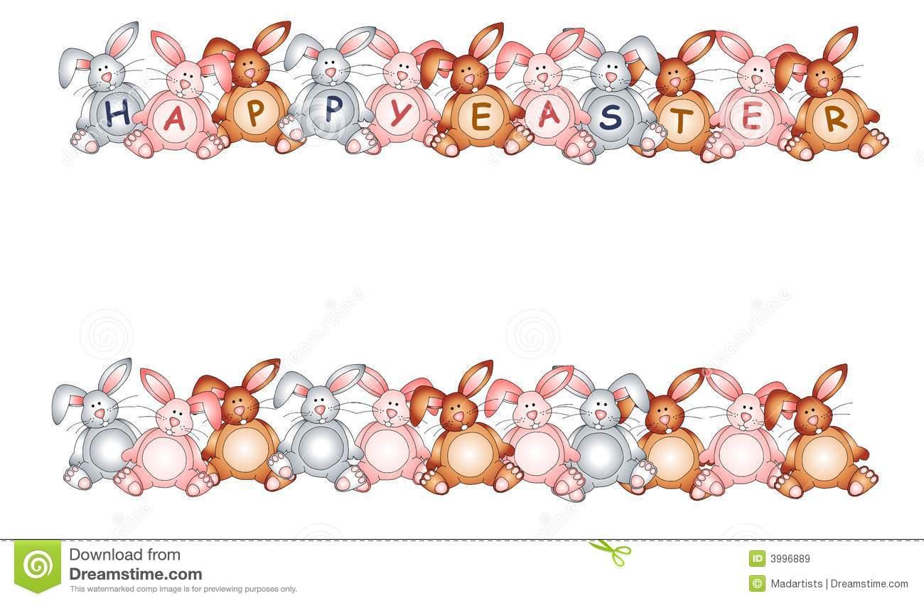 Happy Easter Bunny Rabbit Borders Stock Illustration.