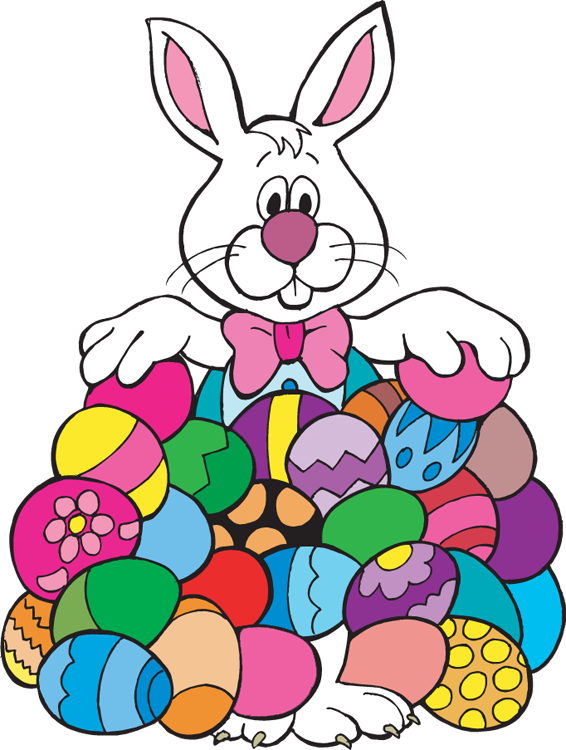 Easter Bunny With Eggs Clipart.