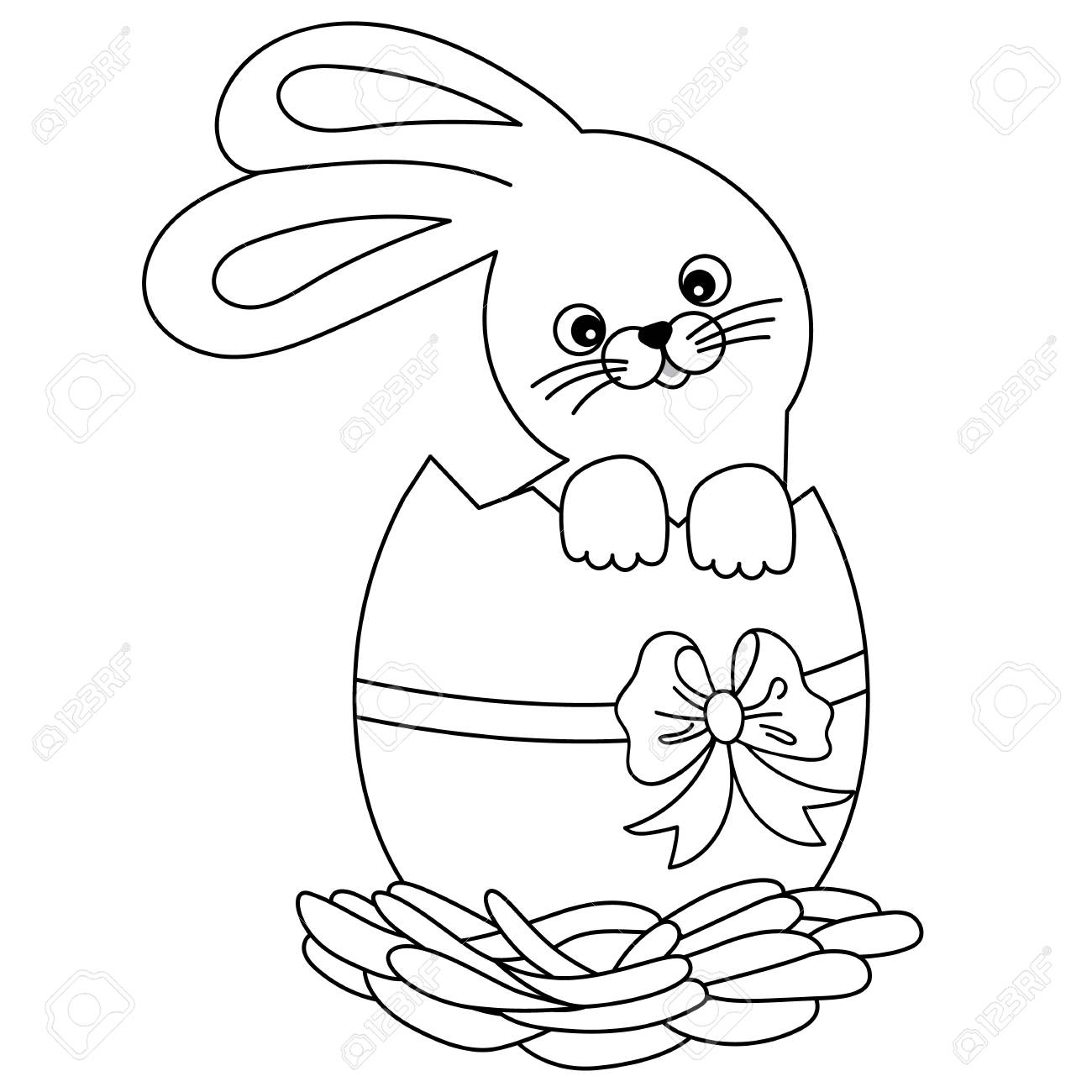 Vector black and white cute cartoon bunny inside of a cracked...