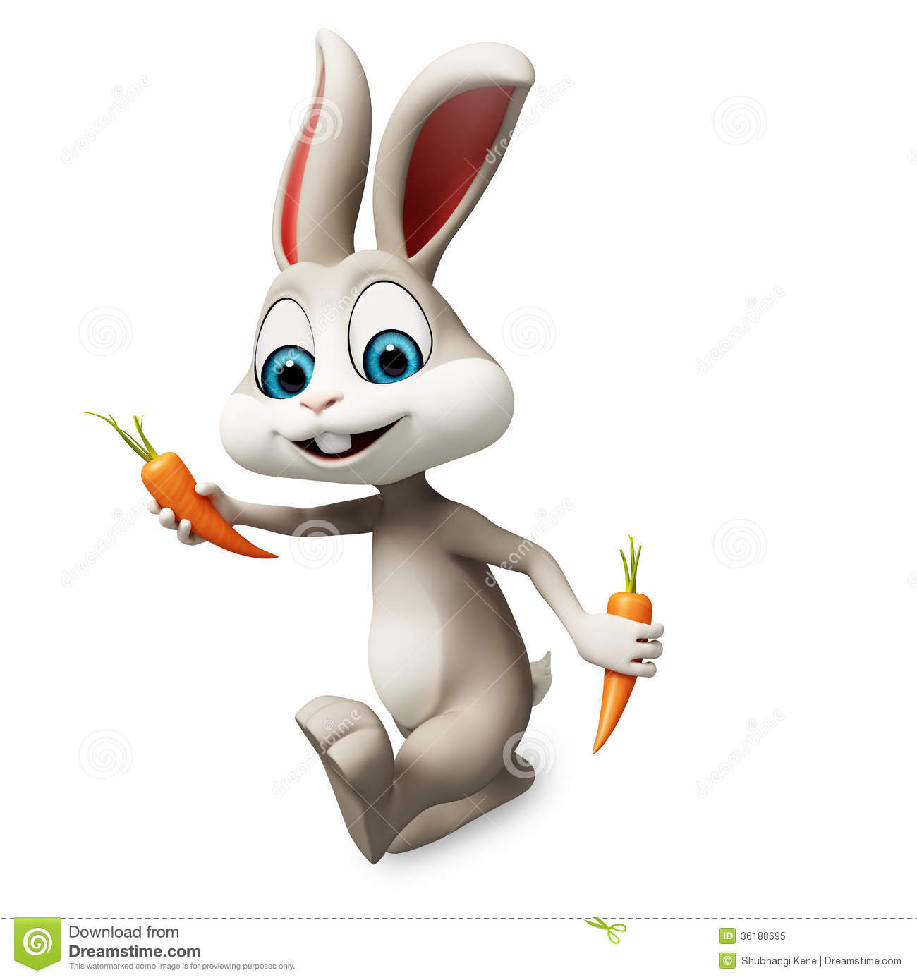 Easter Bunny Running With Carrot Royalty Free Stock Photo.