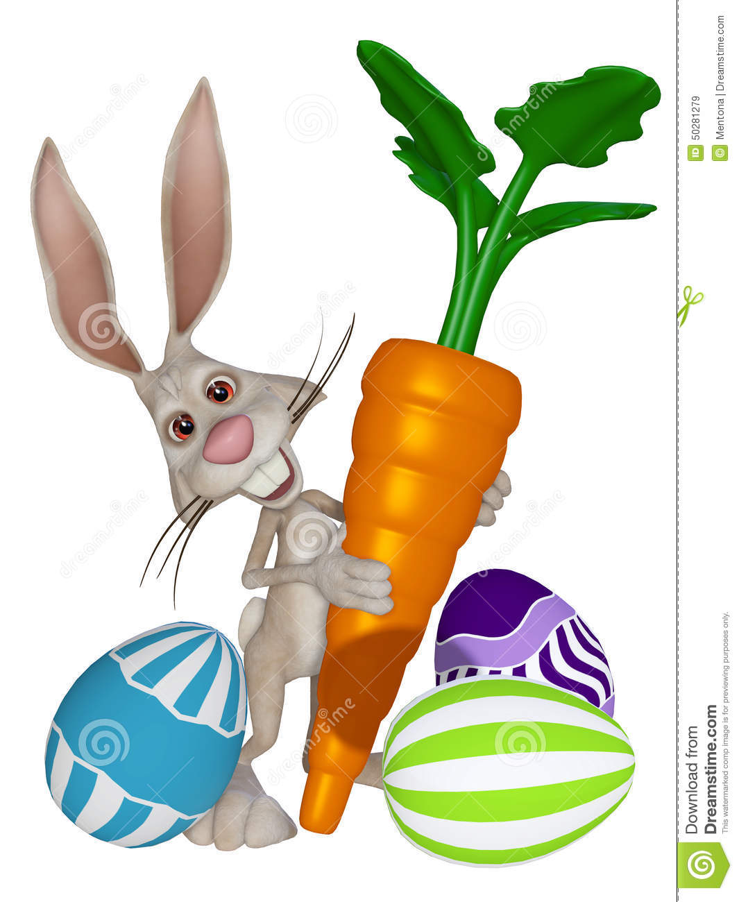 Cartoon Easter Bunny With Easter Eggs And A Carrot Stock.