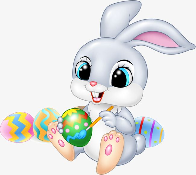 Easter Bunny, Easter Clipart, Bunny Clipart, Gray Rabbit PNG.
