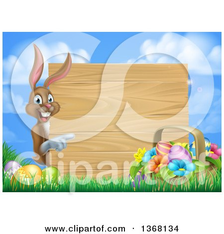 Clipart of a Basket of Easter Eggs and Colorful Flowers.
