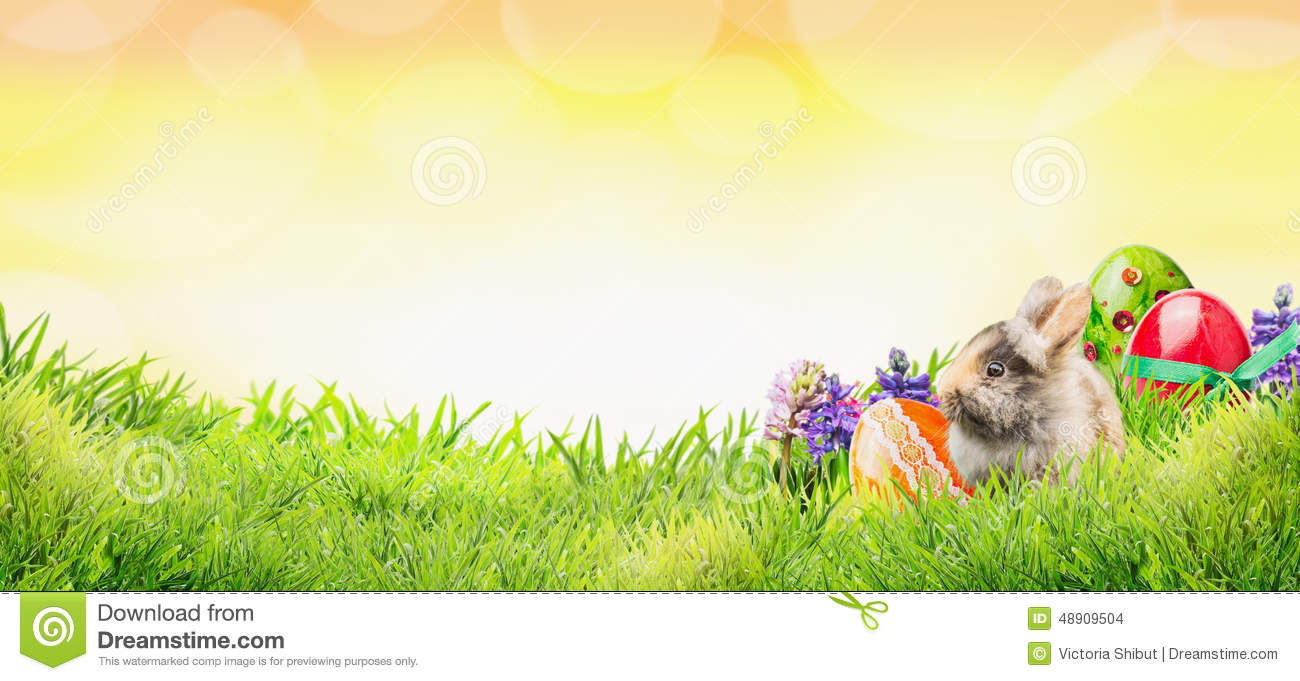 Easter Bunny Clipart With Flowers And Sunny Skies.