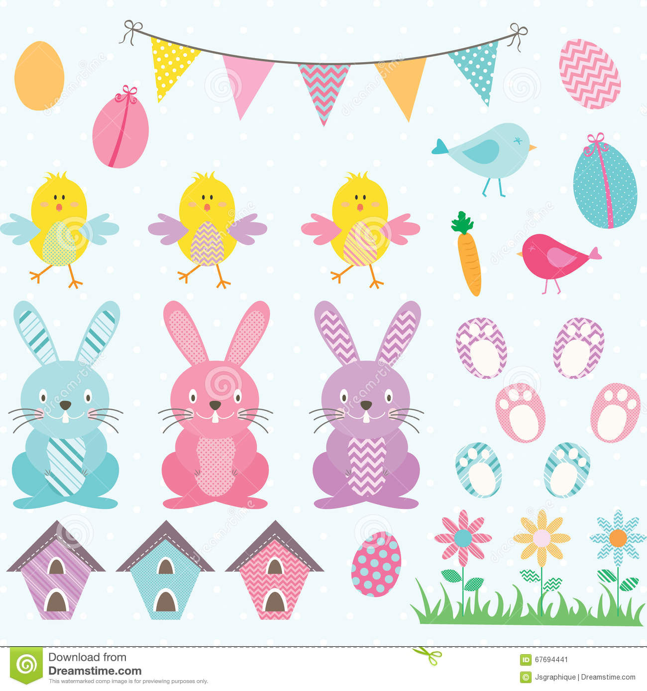 Easter Bunny Chicks Collections.Bunting Banner,Easter Eggs,Flower.