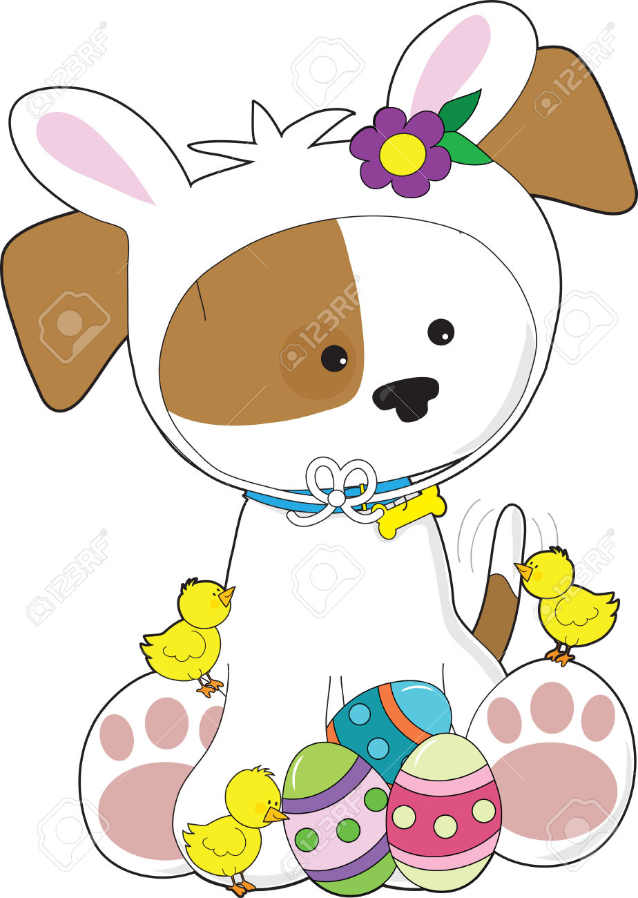 Easter Bunny Dogs Clipart.