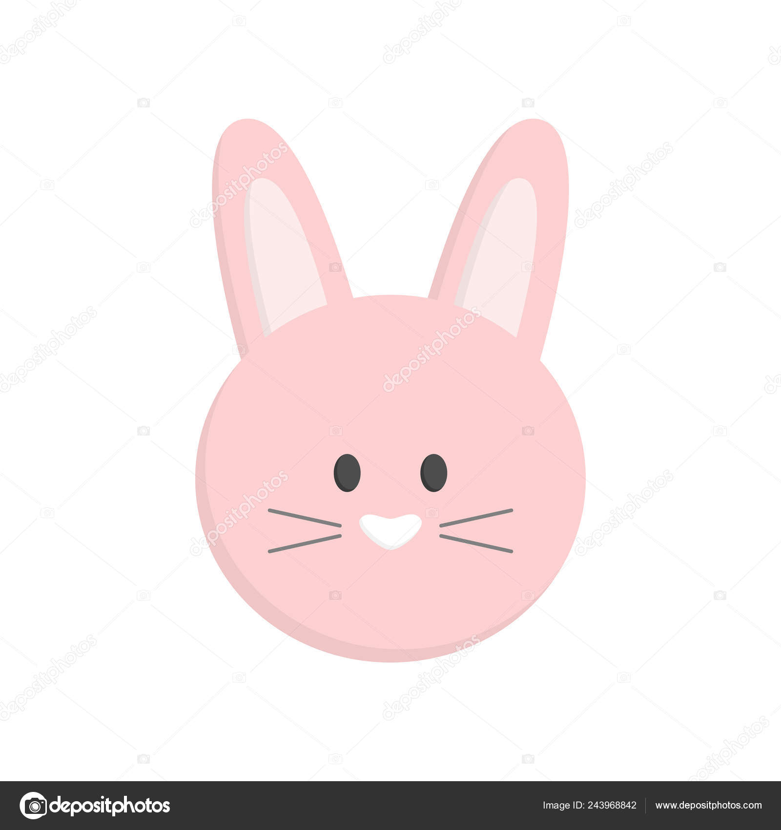 Cute Easter Bunny Head Isolated Pink Easter Bunny Face Vector.