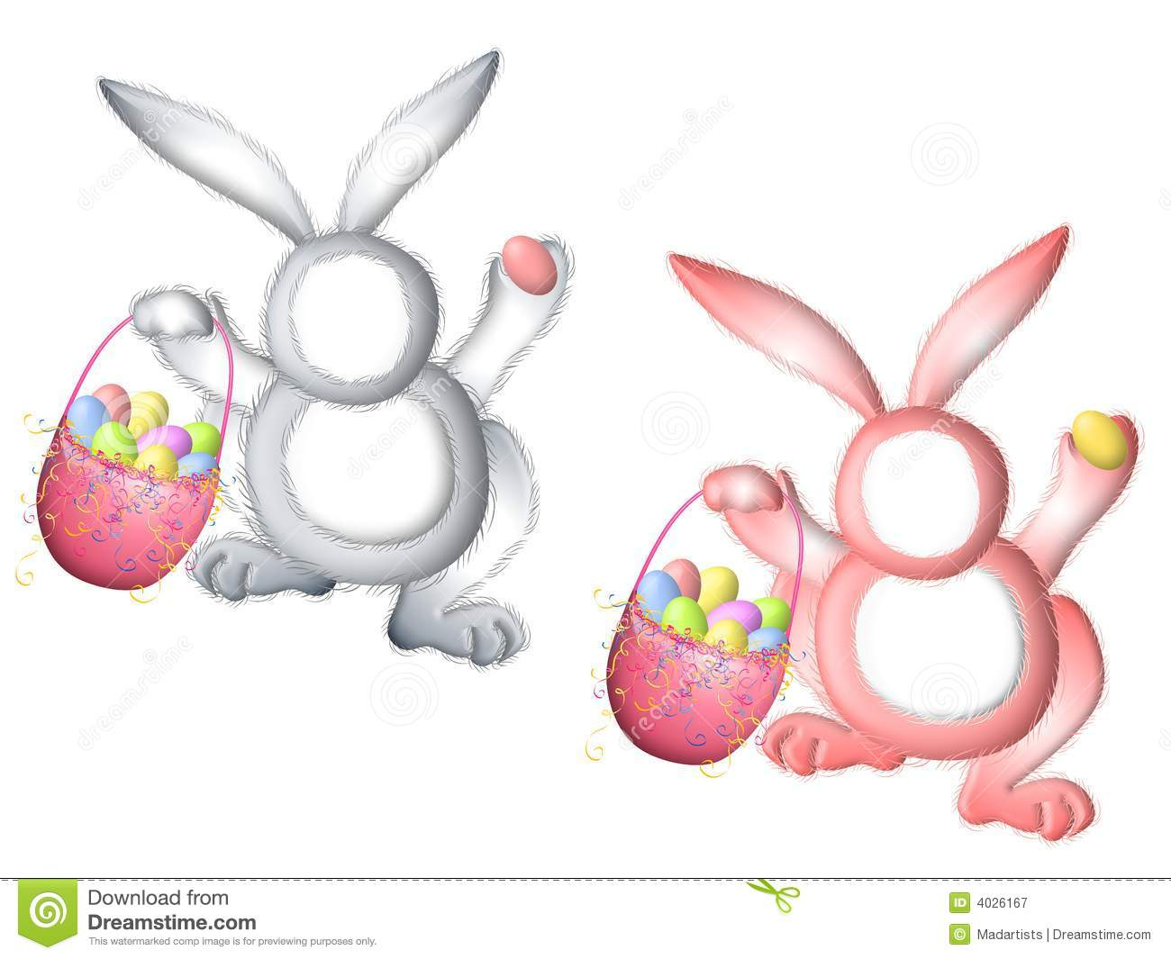 Easter Bunny Rabbit Suits For Faces Stock Illustration.