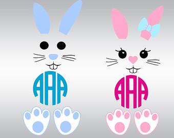 Easter Bunny Monogram Frames Svg Face Ears SVG Clipart