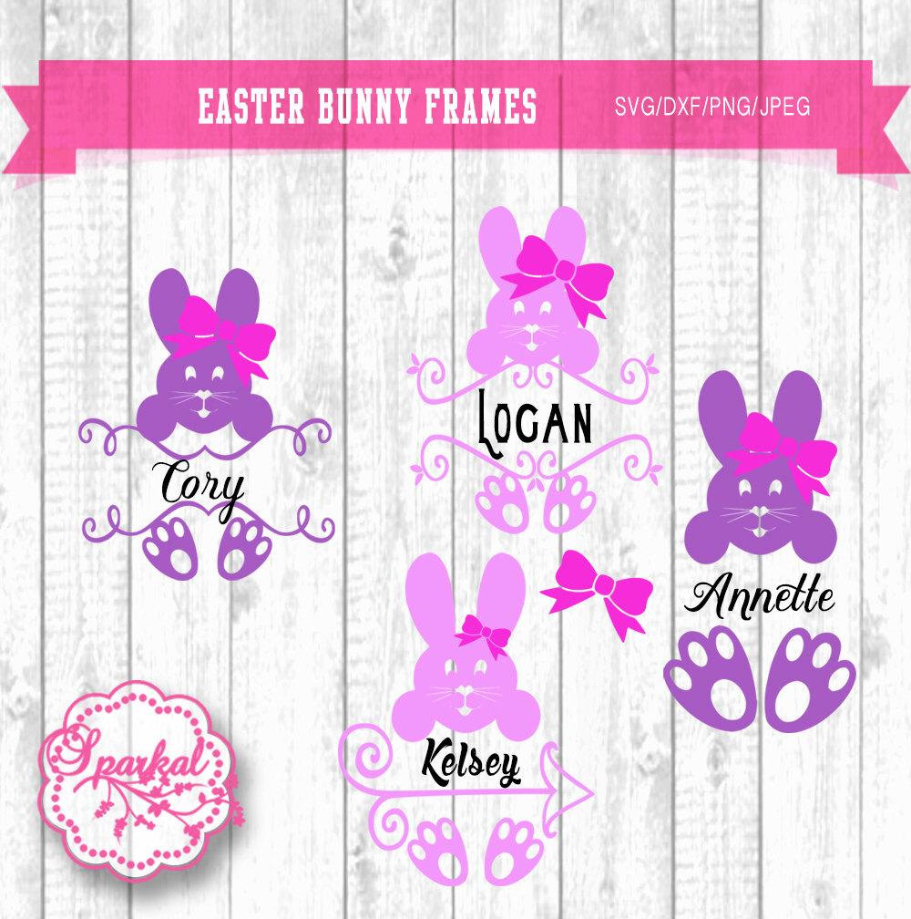Easter Bunny Happy Face with Ears Cuttable Design Cut File. Vector.