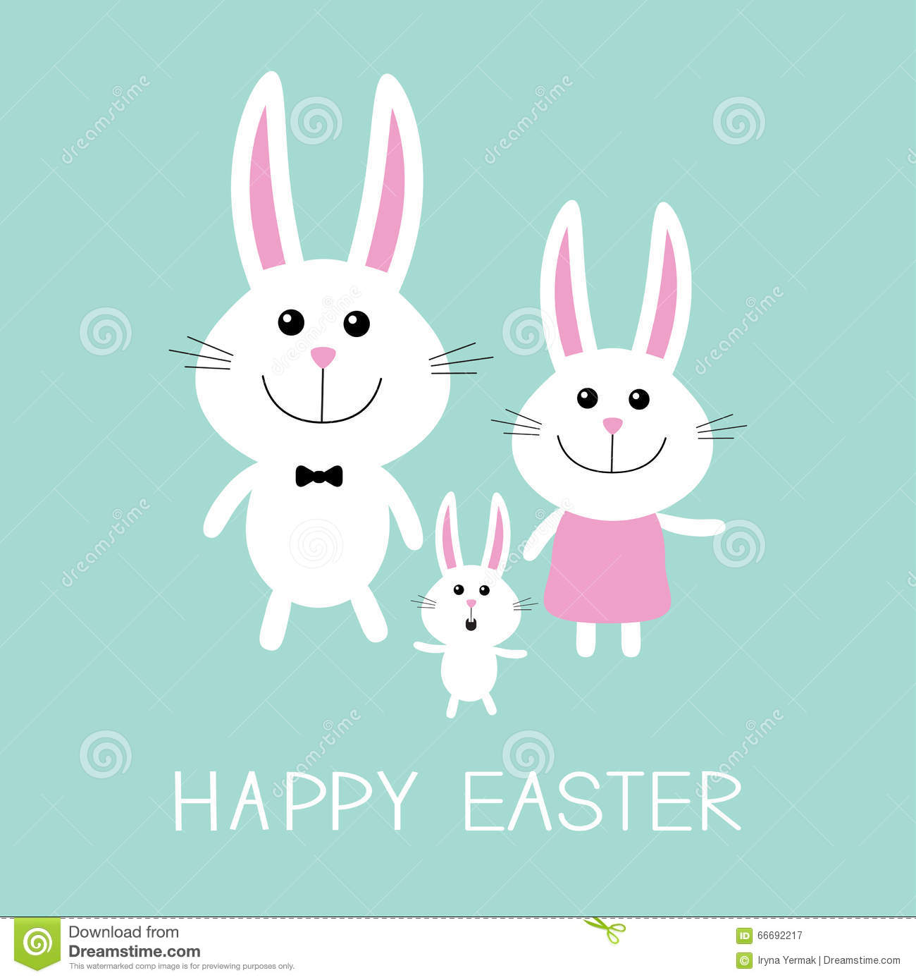 Happy Easter. Bunny Rabbit Family.Father, Mother And Baby Boy.