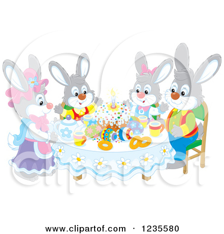 Clipart of a Gray Rabbit Family Around Easter Eggs and a Cake.