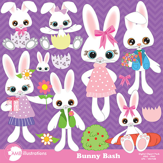 Bunny clip art, Easter Bunny clipart, rabbit clipart, mr and mrs.