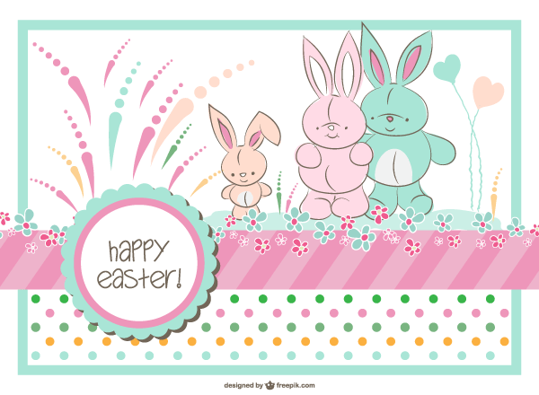 Easter Bunny Family Card Template.