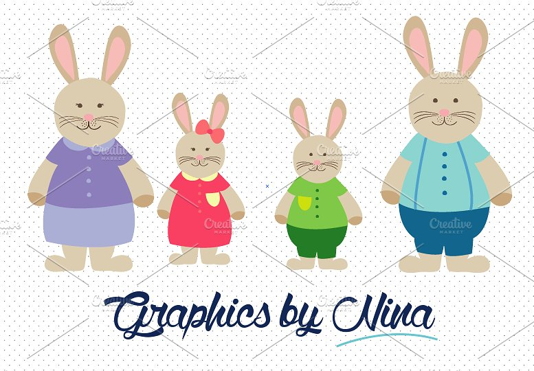 Rabbit Family/Bunny Family Clipart ~ Illustrations on Creative Market.