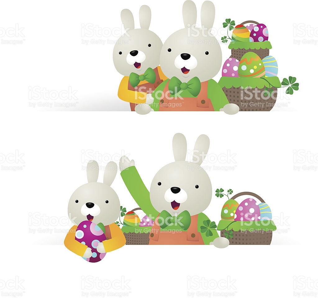 Easter Bunny Family With Blank Sign Basket Of Eggs stock vector.