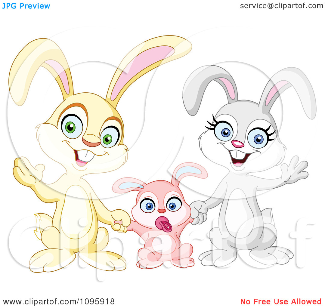 Clipart Happy Family Of Bunny Rabbits Waving.