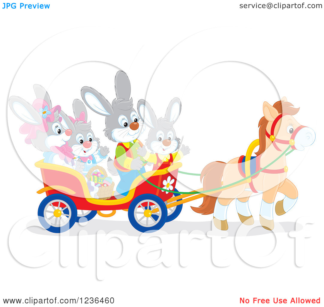 Clipart of a Bunny Rabbit Family on an Easter Horse Drawn Cart.