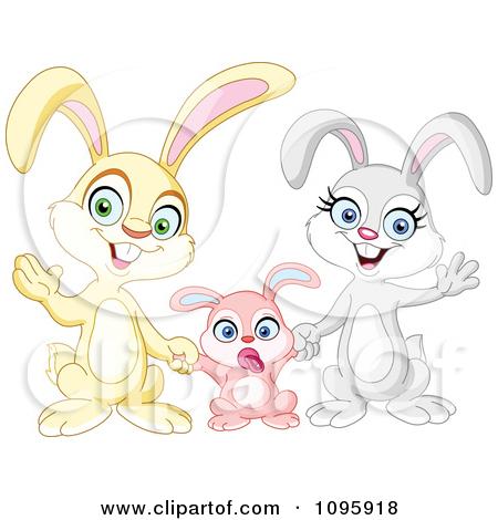 Clipart Happy Family Of Bunny Rabbits Waving.