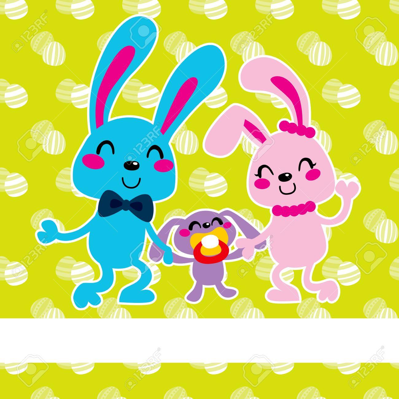 Adorable Happy Easter Bunny Family Celebrating Celebrating.