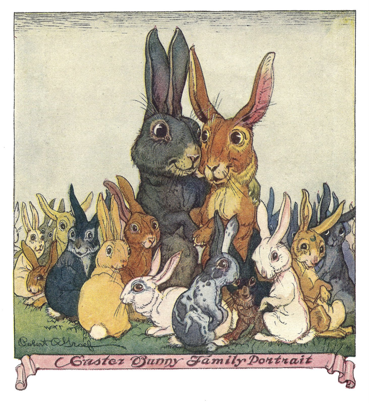 Easter bunny family clipart #2