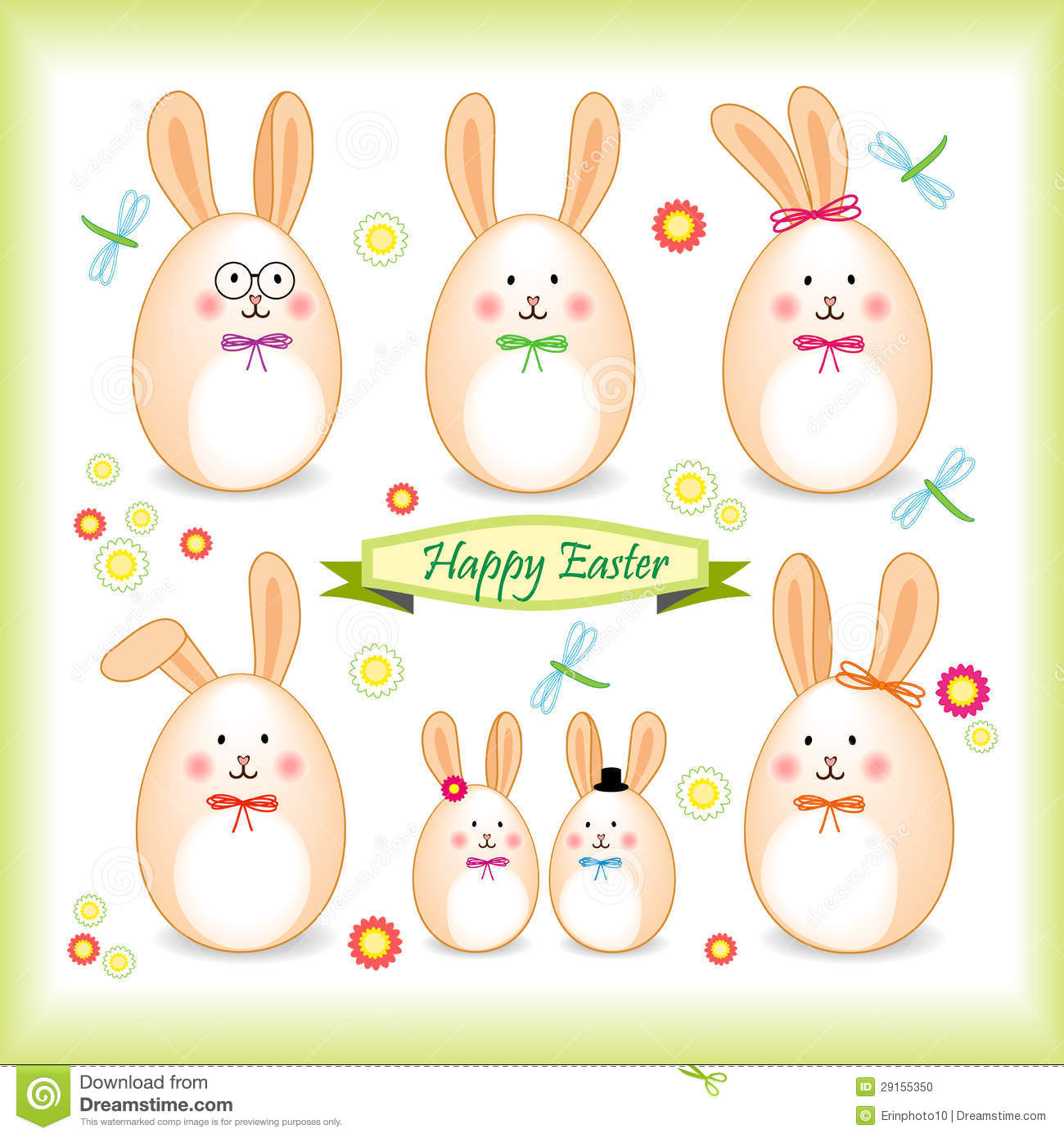 Easter Bunny Family In A Form Of Egg Stock Photo.
