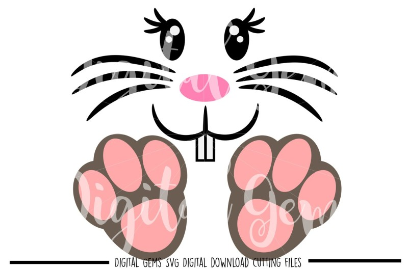 Free Easter Bunny Face / Feet SVG / DXF / EPS / PNG Files.