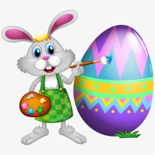 Egg Easter Bunny Rabbit Cartoon Free Transparent Image.