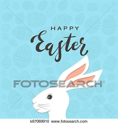 Easter Bunny Head with Eggs on Blue Background Clipart.