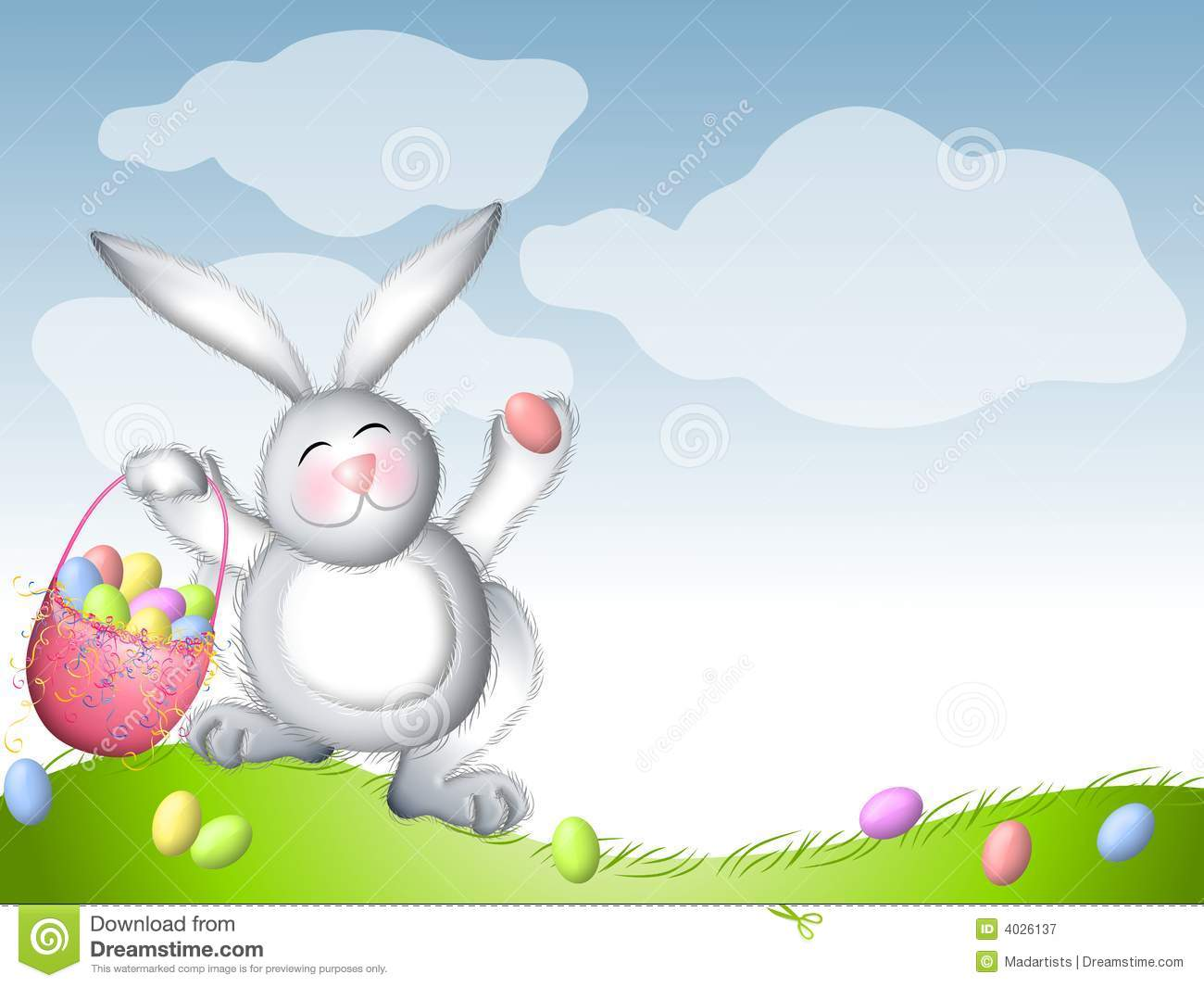 Easter Bunny Hopping With Basket Of Eggs Stock Illustration.